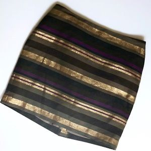 Banana Republic purple gold striped mini skirt